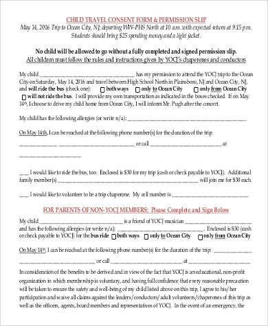 Sample Child Travel Consent Form  Parental Travel Consent
