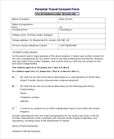 Travel Consent Form Sample   Examples In Word Pdf