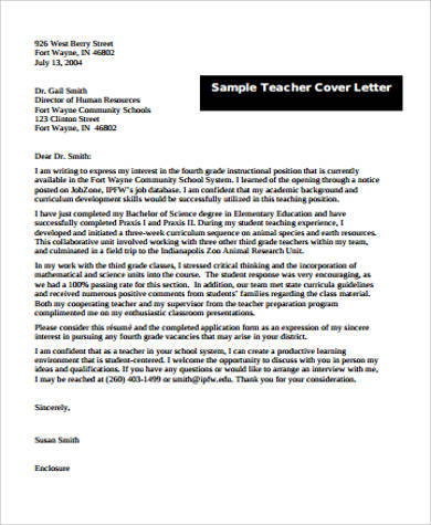 sample cover letter for teacher