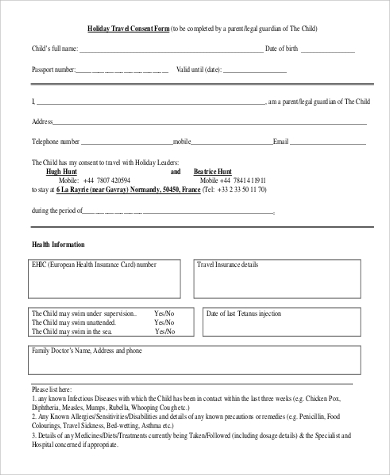 holiday travel consent form