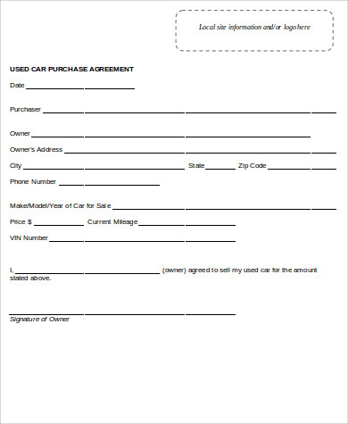 Used Car Purchase Agreement Form Sample Purchase Agreement Forms
