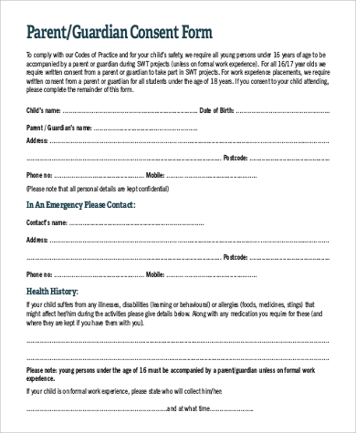 Parent Consent Form Sample - 9+ Examples in PDF