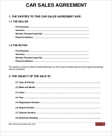 Sample Car Purchase Agreement   Examples In Word Pdf