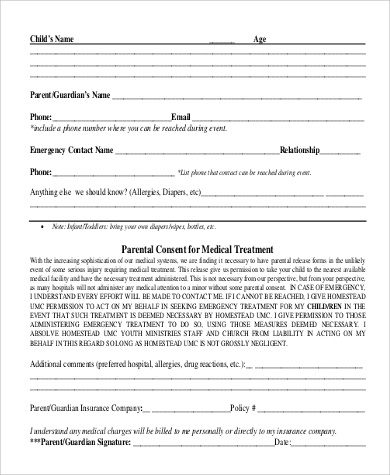 parent consent form for medical treatment