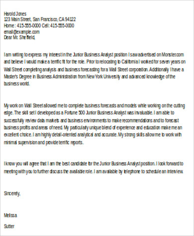 Junior Business Analyst Cover Letter