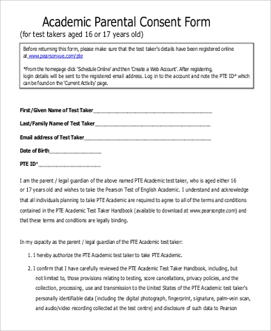 sample academic parental consent form
