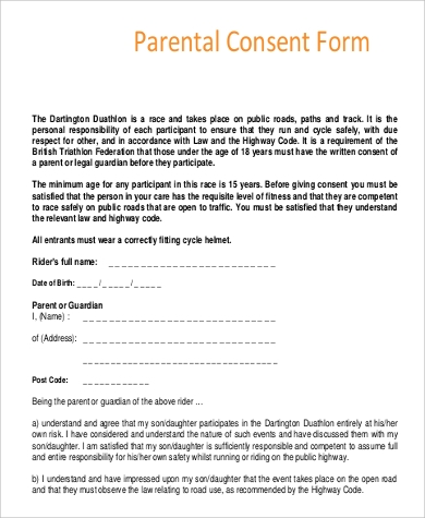 Parent Consent Form Sample   Examples In Pdf