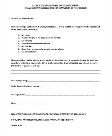job verification request letter