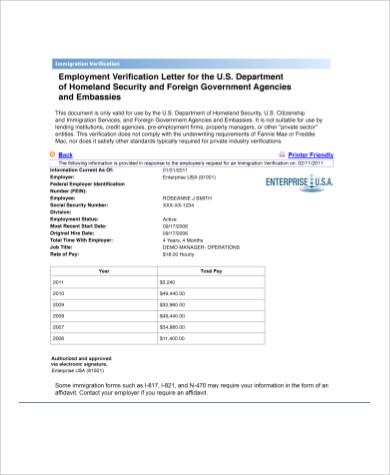 Job Verification Letter For Immigration