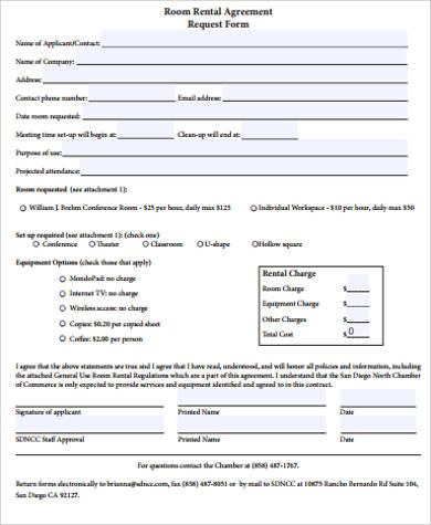 room rental agreement request form sample