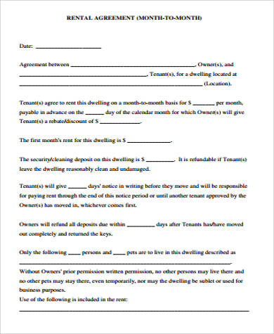 month to month rental agreement form