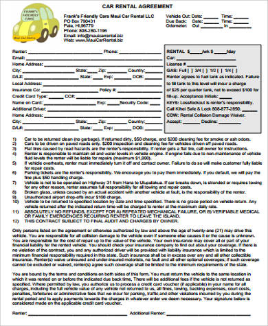 car rental agreement form example