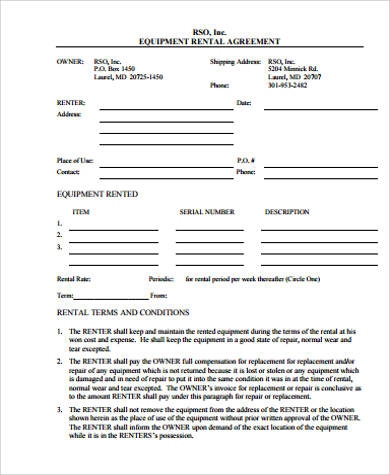 9 rental agreement form samples sample templates for Equipment hire form template