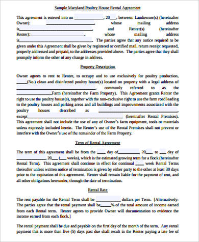 house rental agreement form pdf