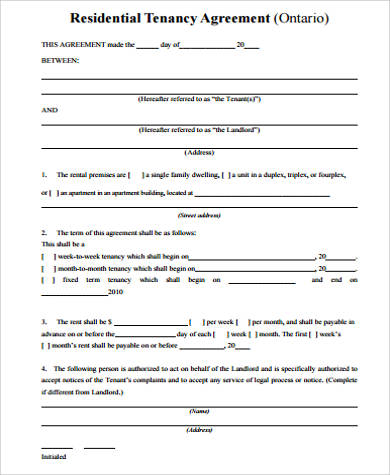 residential rental agreement form