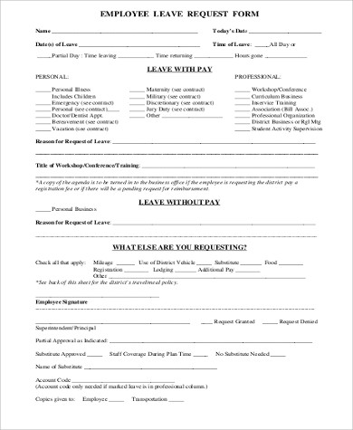Employee-Leave-Request-Form Earn Leave Application Format In Word on form format, leave office early day, leave of absence format, business letter format, white paper format, brief format, leave letter format, leave request,