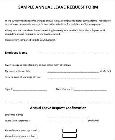 sample annual leave request form - Sick Leave Request Sample