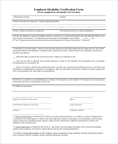 employee disability verification form