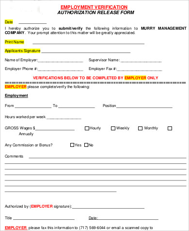 employee verification release form