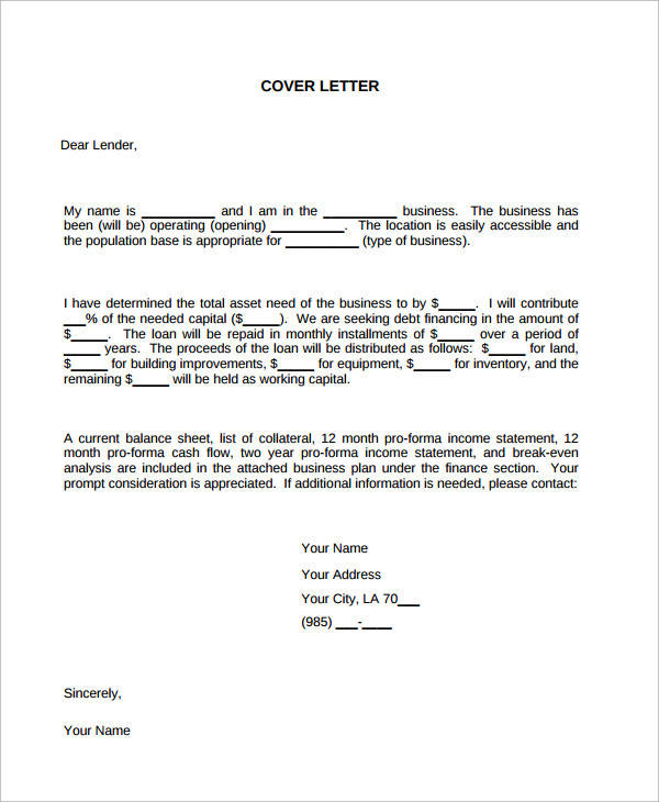 Business Plan Loan Cover Letter Example  Business Cover Letter Sample