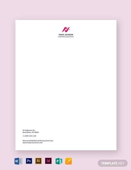 chartered accountant letterhead template