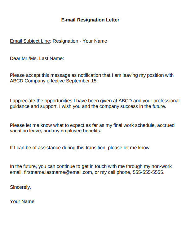 Email resignation letter sample 8 examples in word pdf email immediate resignation letter expocarfo