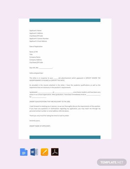 free formal job application letter template