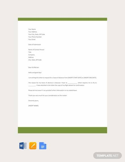 free leave application letter template