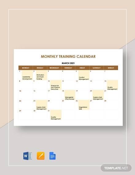 monthly training calendar template1