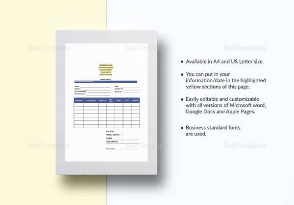 official order receipt template