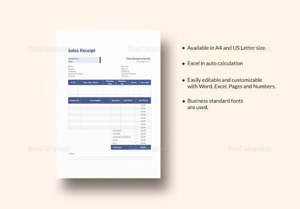 official sales service receipt template