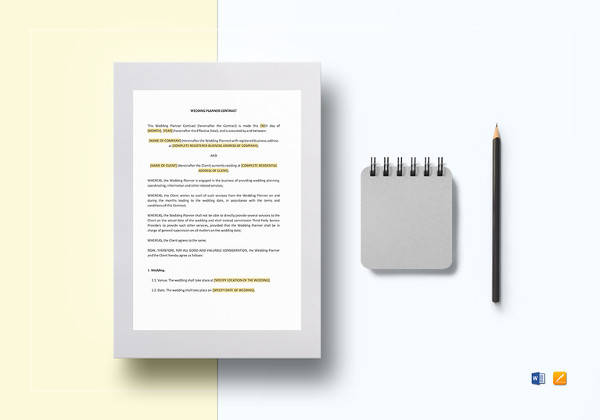 printable wedding planner contract template