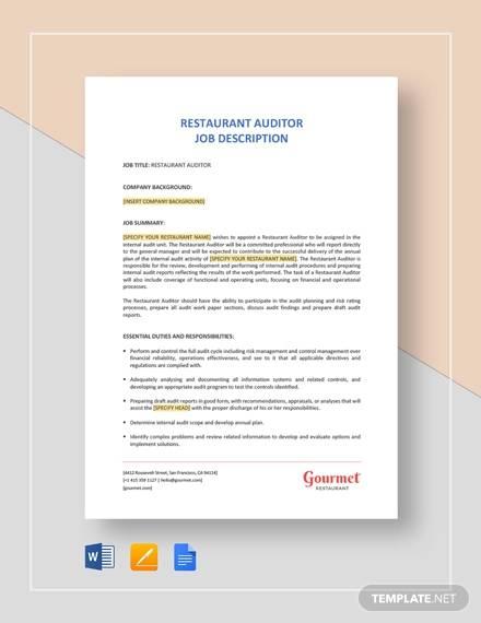 restaurant auditor job description