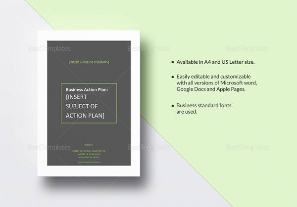 sample business action plan template