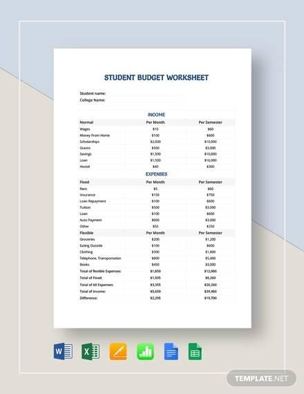student budget worksheet template