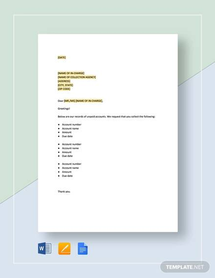 transmittal for collection template