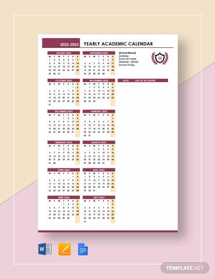 yearly academic calendar template