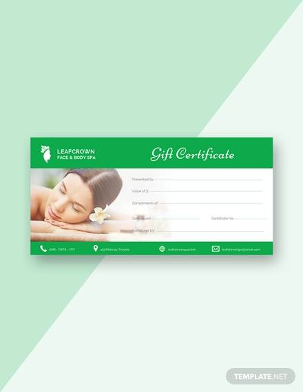 free spa gift certificate