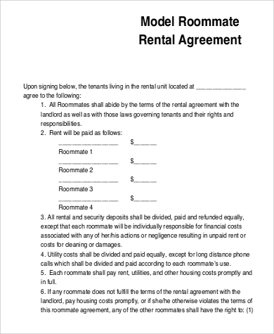 Roommate Rental Agreement Printable Sample Roommate Agreement Form