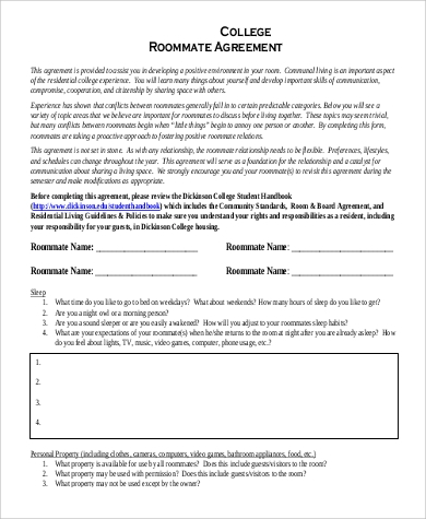 Sample Roommate Agreement Form   Examples In Word Pdf