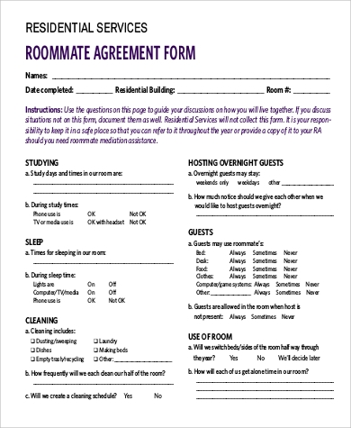 9 sample roommate agreement forms sample templates for Roommate agreement template free