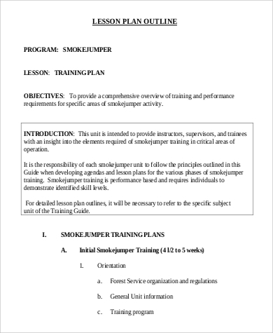 9 lesson plan outline samples sample templates for Outline of a lesson plan template