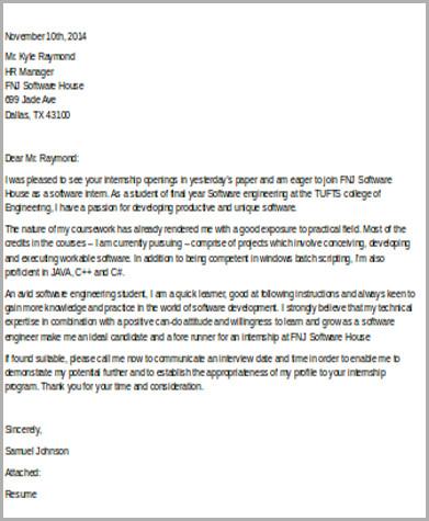 format for internship cover letter