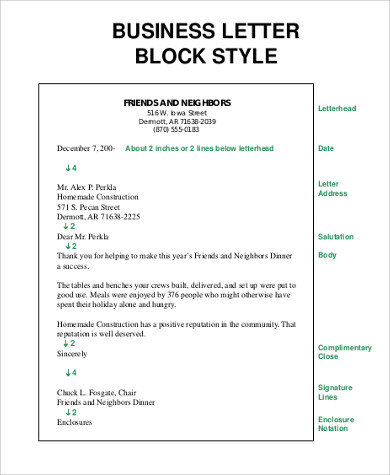 block style letter 6 personal business letter samples sample templates 1094