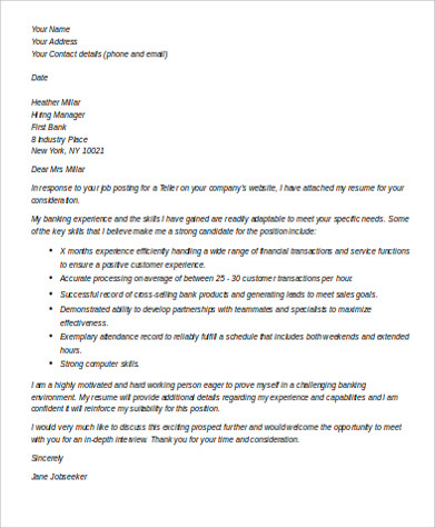 Sample Bank Teller Cover Letter - 7+ Examples in Word, PDF