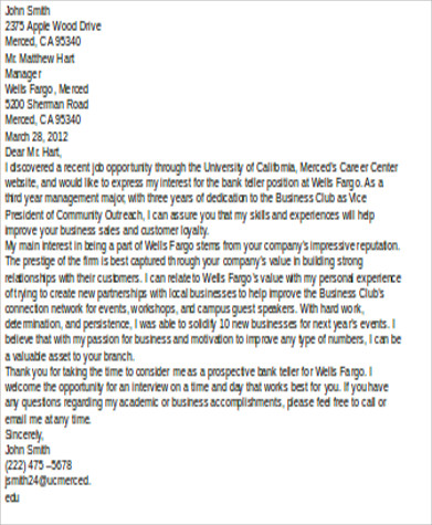 Sample Bank Teller Cover Letter 7 Examples In Word Pdf