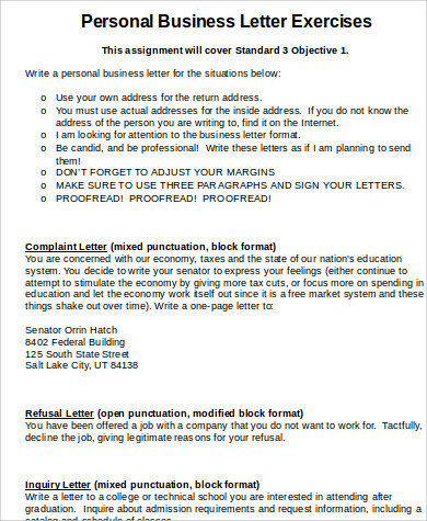 personal business letter exercises