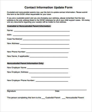 contact information update form pdf