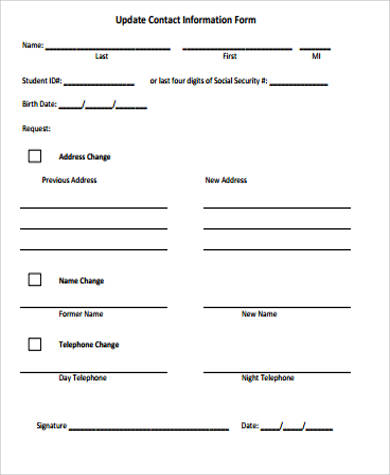 update contact information form template 12 sample contact information forms sample templates