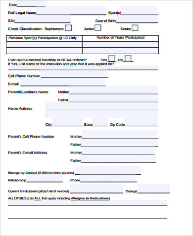 parent contact information form sample